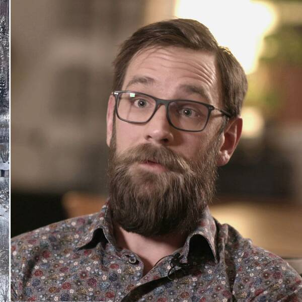 Tvådelad bild. Vyer över landskap till vänster och bild på Adam Johansson till höger.