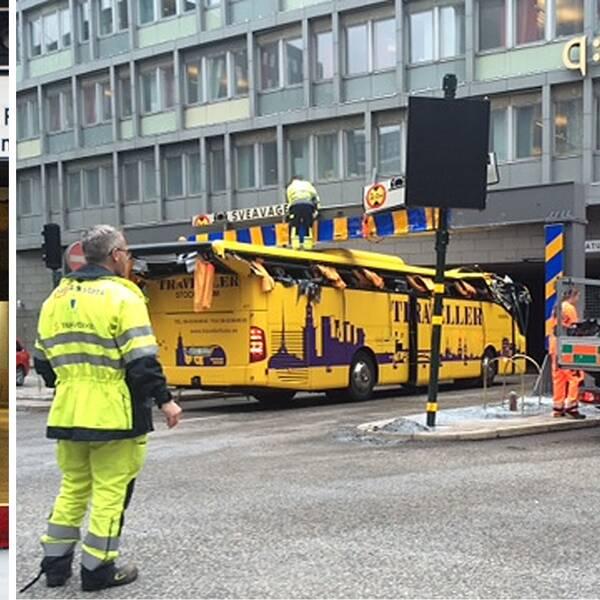 Bussar fast i Klaratunneln