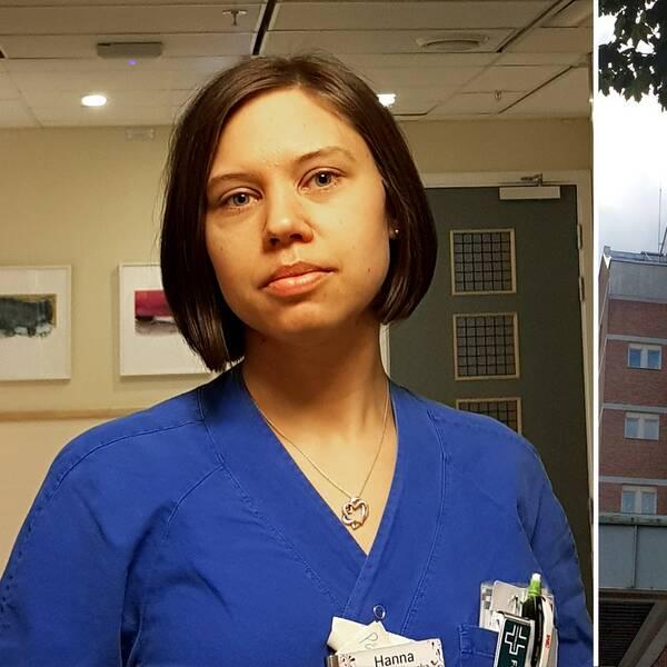 """Till vänster: Brunhårig kvinna med page. Blå vårdtröja. Till höger: Byggnadsfasad med texten """"Region Örebro län Universitetssjukhuset"""". Löv från ett träd ramar in bilden."""