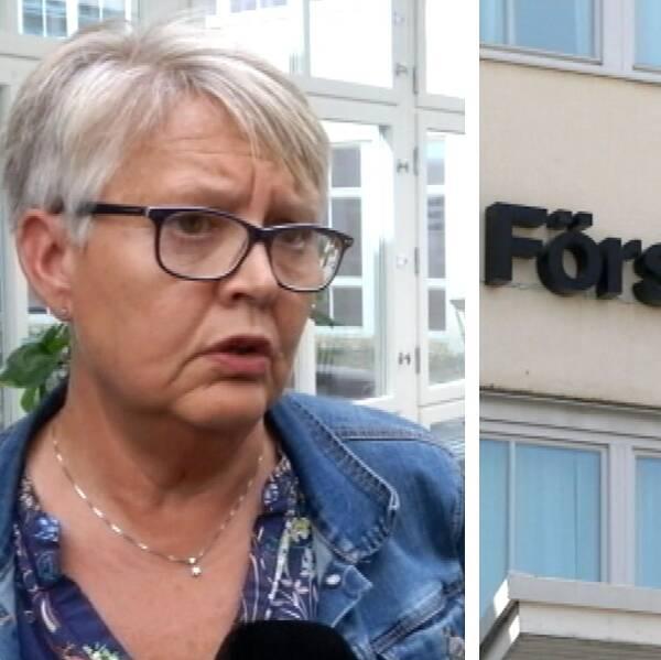 en medelålders kvinna som intervjuas, samt bild på fasad med skylt: Försäkringskassan