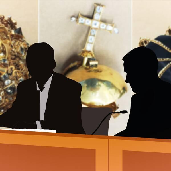 Två skuggfigurer som ska föreställa 26-åringen och hans advokat sitter i något som ser ut som en rättegångssal. I bakgrunden är bilder på de återfunna regalierna inklippta.