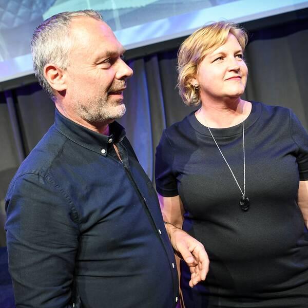 Liberalernas partiledare Jan Björklund och toppkandidaten Karin Karlsbro under partiets valvaka på Clarion Hotel i Stockholm under valet till Europaparlamentet.