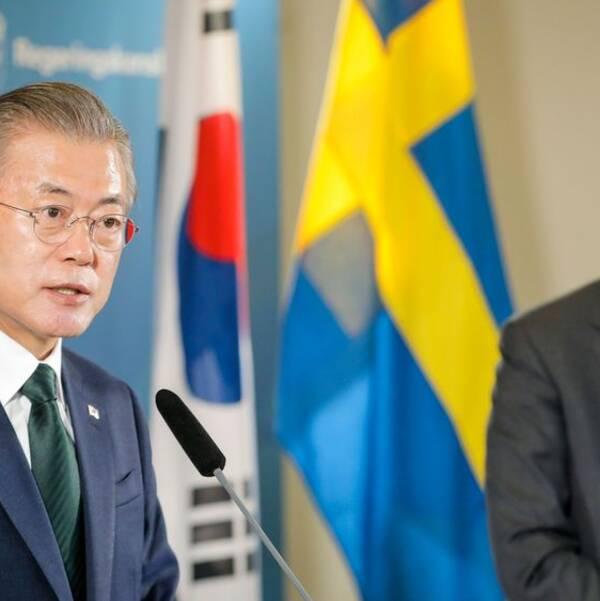 Sydkoreas president Moon Jae-in och statsminister Stefan Löfven (S) håller pressträff på Grand hotel i Saltsjöbaden efter ett gemensamt möte den 15 juni 2016.