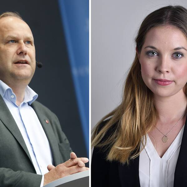 Vänsterpartiets partiledare Jonas Sjöstedt och Sverigedemokraternas idrottspolitiska talesperson Angelika Bengtsson.