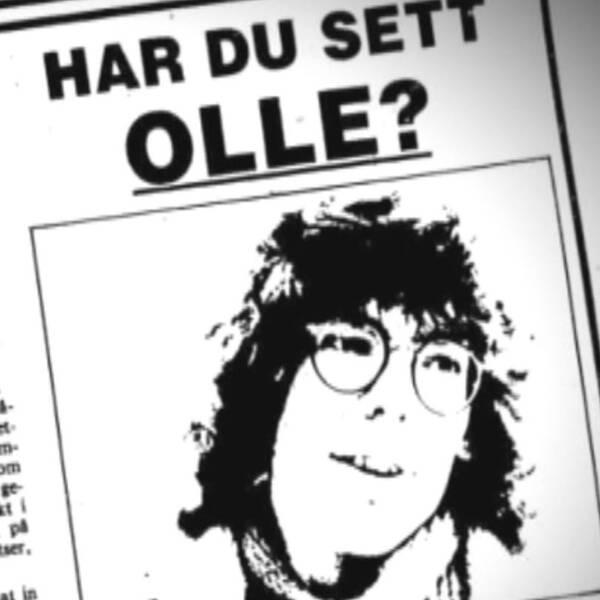 Kollage med arkivbilder. Till vänster bild i tidningen på försvunne Olle Högbom. Till höger bild på en äldre telefon och ett finger.