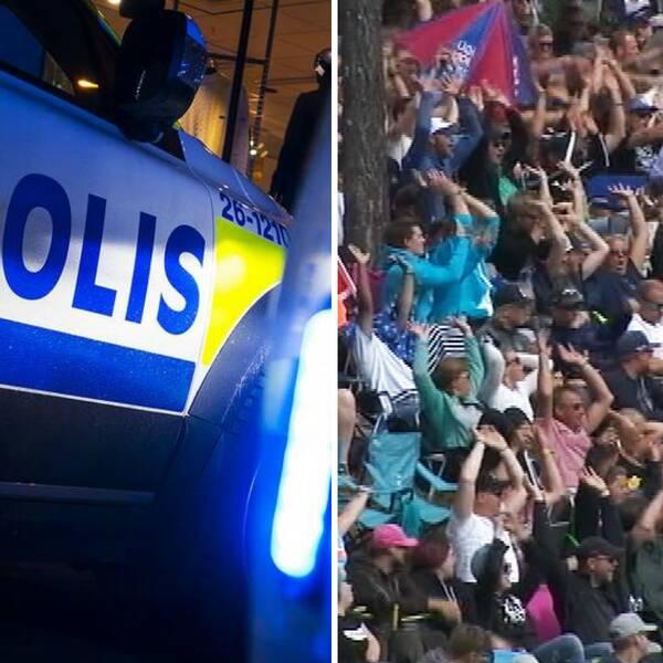 Collage. Publik framför festivalscen. Polisbil. Publik med händerna i vädret.
