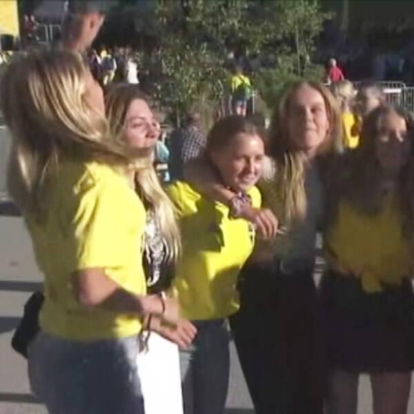 Här studsar Kungsbacka-tjejerna upp och ner för landslaget.