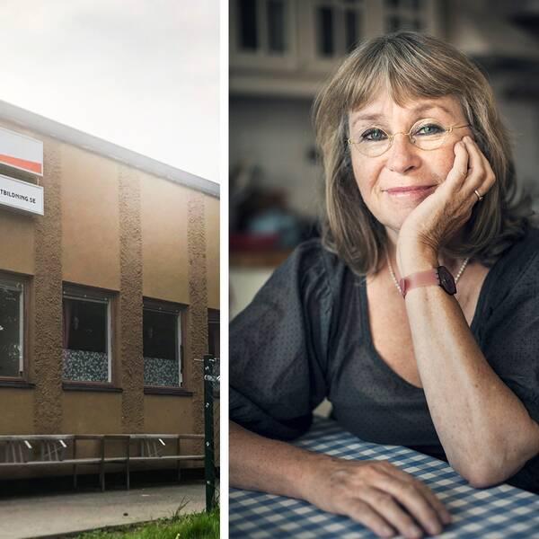 Exteriör på skolan MTH-utbildning och porträttbild på Ylva Mårtens