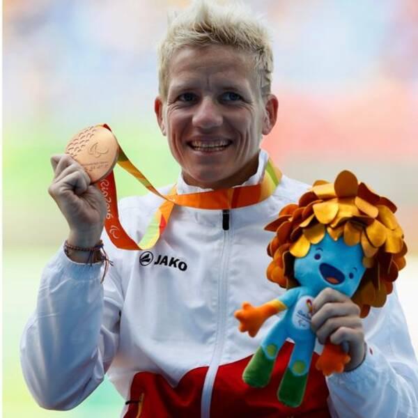 Marieke Vervoort under Paralympics i Rio där hon knep två medaljer.