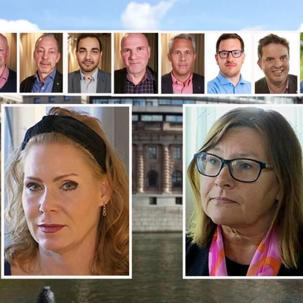 Montage. Bilder av värmländska riksdagsledamöter framför Rosenbad.