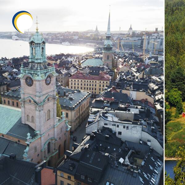 Bild på Stockholm samt bild på hus i en skogsmiljö. Menat att representera de skillnader som finns mellan landsbygd och stad när det gäller vilka kommuninvånare det är som gynnats mest av de senaste årens skattesänkningar.