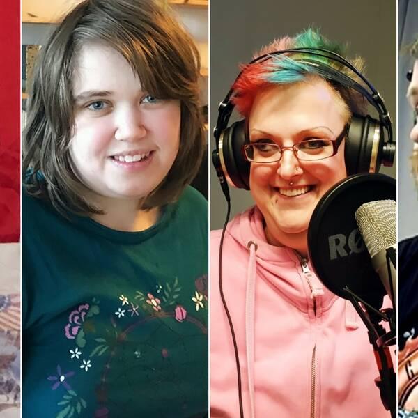 Porträttbilder på fyra unga personer.