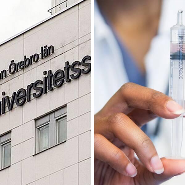 Till vänster en bild på universitetssjukhuset i Örebro. Till höger en bild på en läkare som förbereder en spruta.