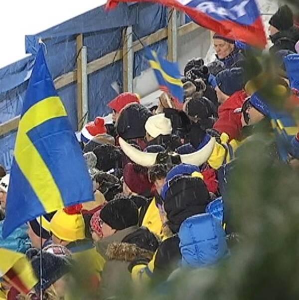 publik med flaggor