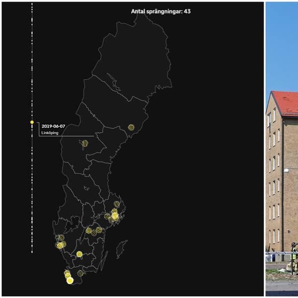 En karta med de orter där Nationella bombskyddet har åkt ut på sprängningar.