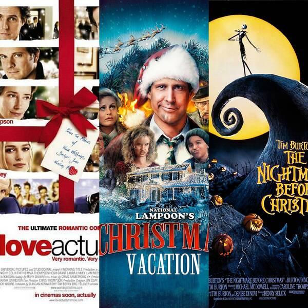 Filmomslag till Elf, Love Acutally, Ett päron till farsa firar jul, The Nightmare before Christmas och Tomten är far till alla barnen.