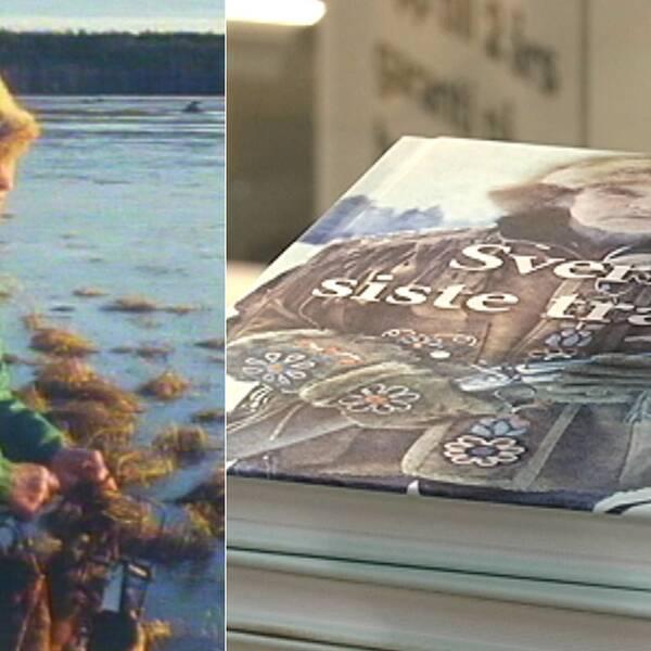 """Gammal bild på en man med pälsmössa vid en sjö, bild på en bok """"Sveriges siste trapper"""""""