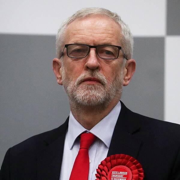 En besviken Jeremy Corbyn, ledare för Labour.
