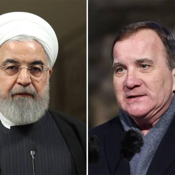 Split bild på Irans president Hassan Rouhani och statsminister Stefan Löfven