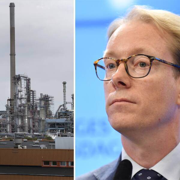 Preems oljeraffinaderi i Lysekil och en bild på Tobias Billström.