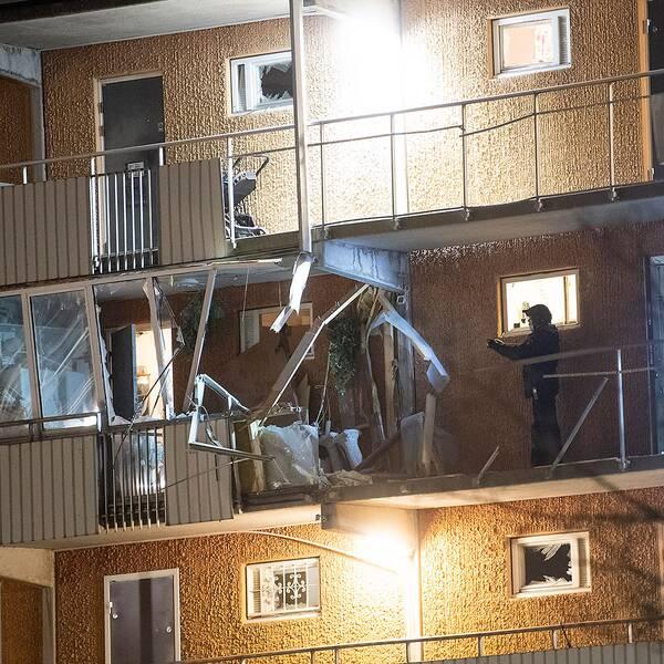 Explosionen på en loftgång i Husby orsakade stora skador.