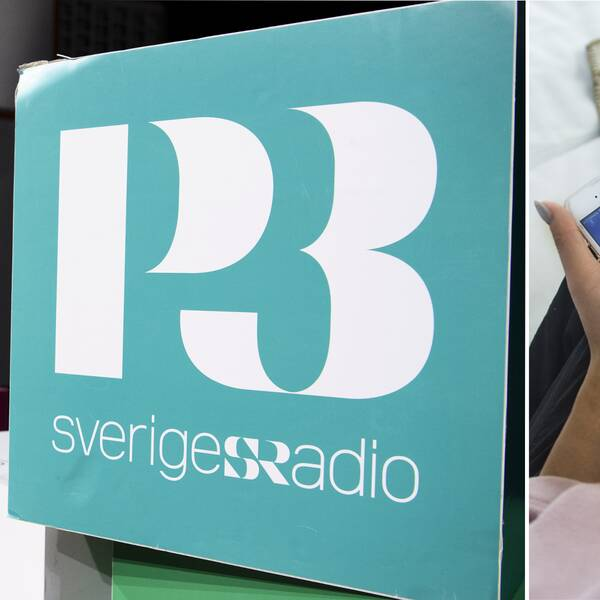 P3:s logga och person som lyssnar på Spotify via mobilen.