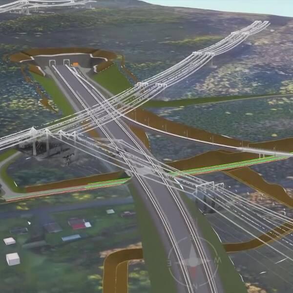En översiktsfilm gjord av trafikverket där de visar hur långt tunneln kommer att sträcka sig.