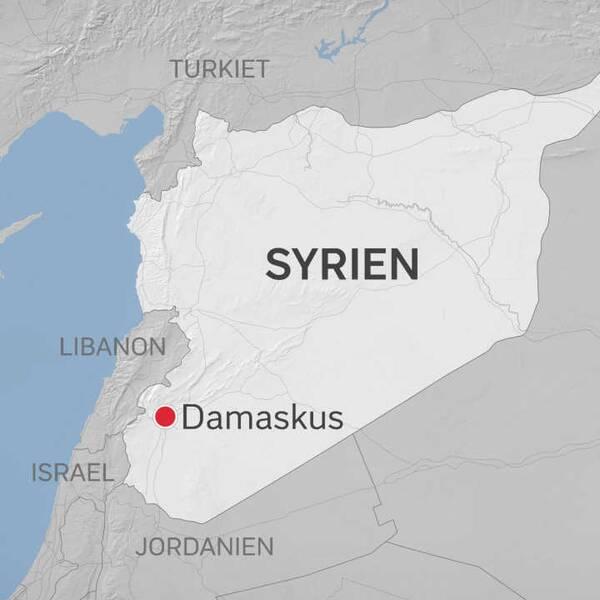 En karta över syrien med Damaskus utpekat.