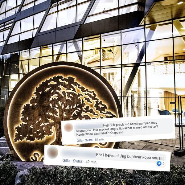 Swedbanks huvudkontor i Sundbyberg och kommentarer från bankens Facebooksida.