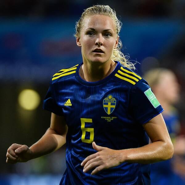 Magdalena Eriksson under en VM-match i somras.