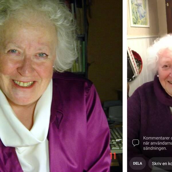 Montagebild på porträtt på Hervor Sjödin och en bild från när Hervor livesänder på facebook.
