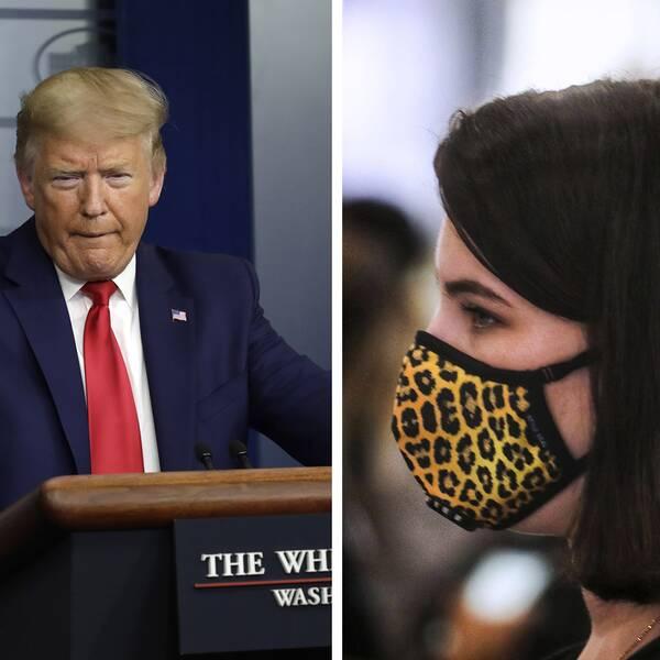 Donald Trump. Kvinna i profil med munskydd av tyg.