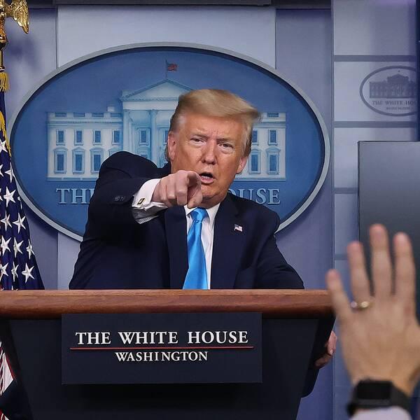 Donald Trump under presskonferensen i Vita Huset.