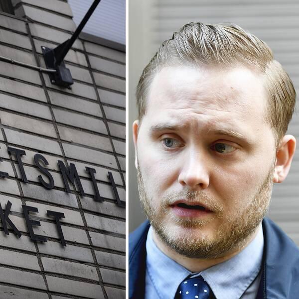 Till vänster: Arbetsmiljöverkets logga på en fasad. Till höger: närbild på Henrik Vinge, SD:s gruppledare.