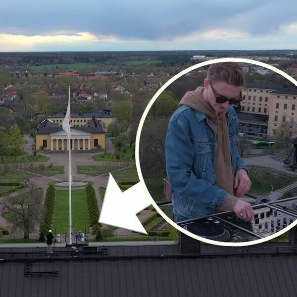 Hör när DJ:n soundcheckar på slottstaket.