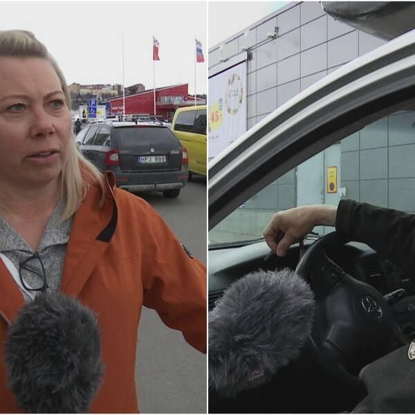 Två bilder med en person i varje från en parkering i Kiruna. En blond kvinna i orange jacka, och en man i en bil.