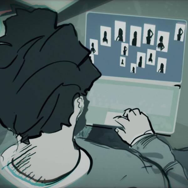 Illustration av man som tittar på datorskärm med bilder
