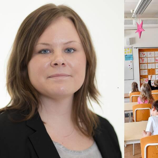 Maria Olausson och en bild på en skolklass.