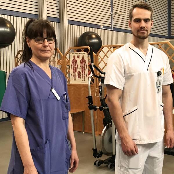 Sjukgymnast Annika Söderlind, arbetsterapeut Victor Brandt och Anette Forsberg,verksamhetschef på fysioterapiavdelningen