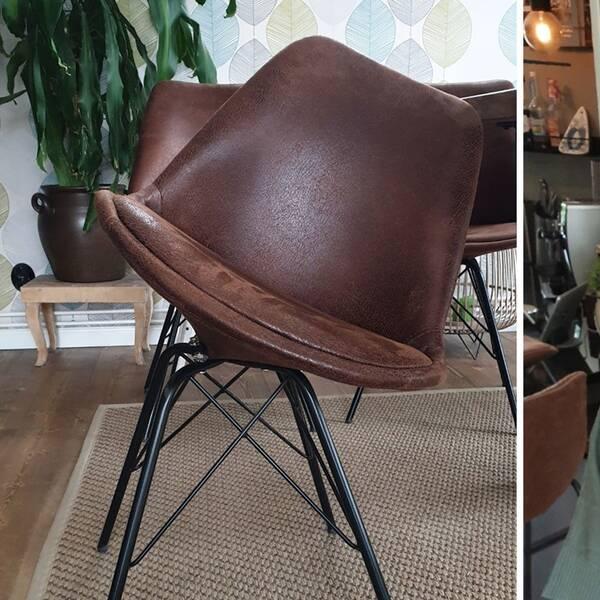 En brun stol som är extremt sned. En bild på Mia Kohl.