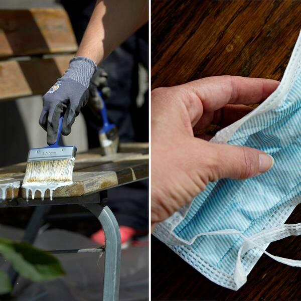 Montage av två bilder. Till vänster målas en bänk, till höger en bild på ett munskydd.