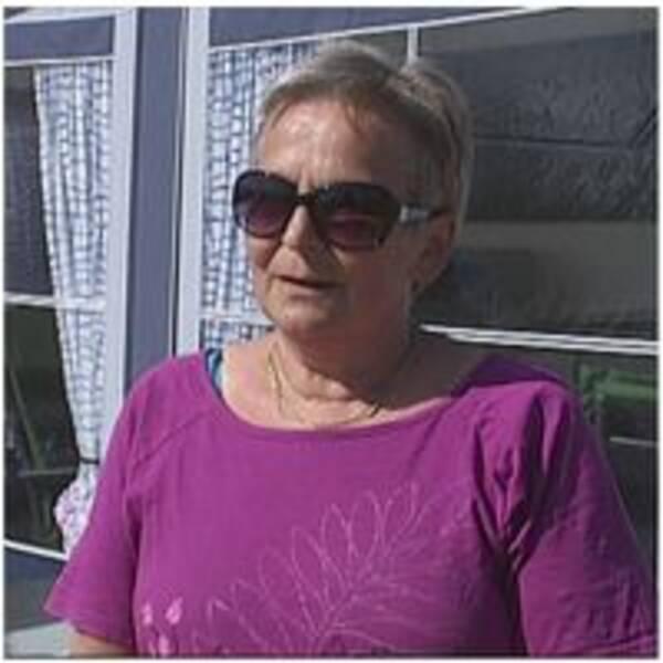 vy över camping, och bild på kvinna i solglasögon