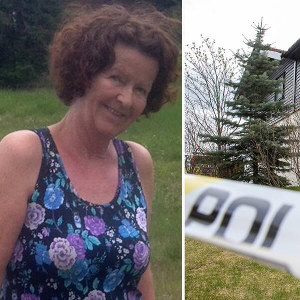 Till vänster: Anne-Elisabeth Hagen i somrigt linne intill en äng. Till höger: familjen Hagens hus med polisavspärrningar runt om.