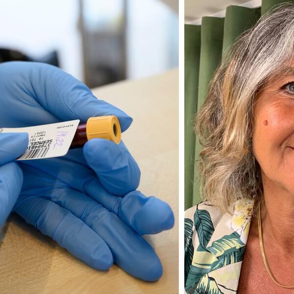 Behandskad hand håller i blodprov – Madde Gustafsson, socialchef i Lindesbergs kommun