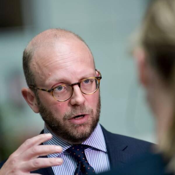 Åklagaren Henrik Olin efter rättegången i Stockholms tingsrätt som inleddes på fredagen mot den tidigare Kinaambassadören Anna Lindstedt.
