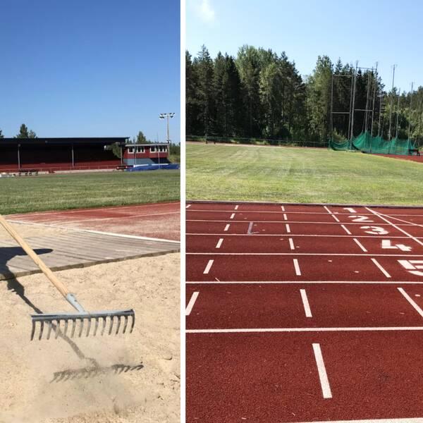 Bilden är ett collage. Vänster bildhalva: Leif Göran Mosell krattar en längdhoppsgrop. Höger bildhalva: Startmarkeringarna på löpbanan.