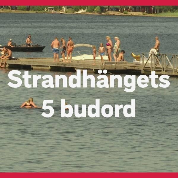"""Text där det står """"strandhängets 5 budord"""" framför en badbrygga med ett flertal badgäster"""