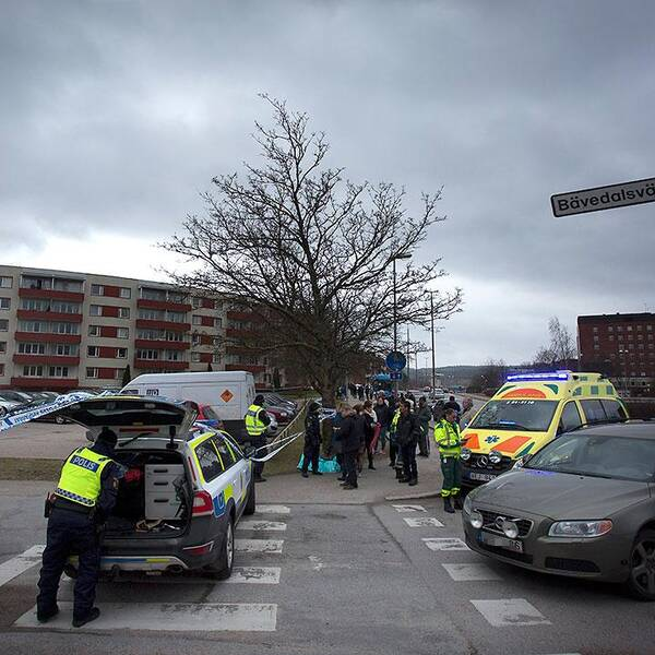 Brottsplatsen i Uddevalla där tre personer hittades döda