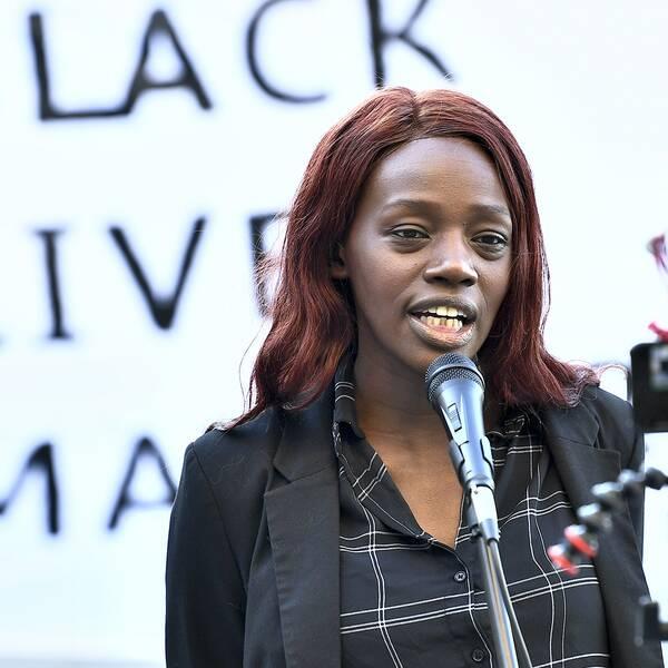 Aysha Jones talade under den digitala demonstrationen 9 juni.