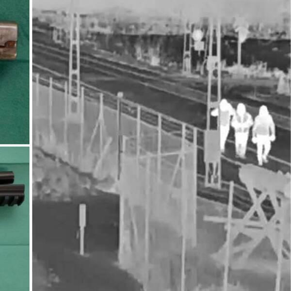 Montage på bilder ur polisens förundersökning. Två pistoler i separata bilder till vänster. Till höger: en bild på de misstänkta som fastnade på en övervakningskamera en bit bort från brottsplatsen.